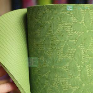 Thảm Yoga TPE FITFOUND hoa văn đặc sắc màu xanh lá 1