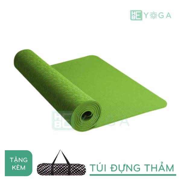 Thảm Yoga TPE FITFOUND hoa văn đặc sắc màu xanh lá