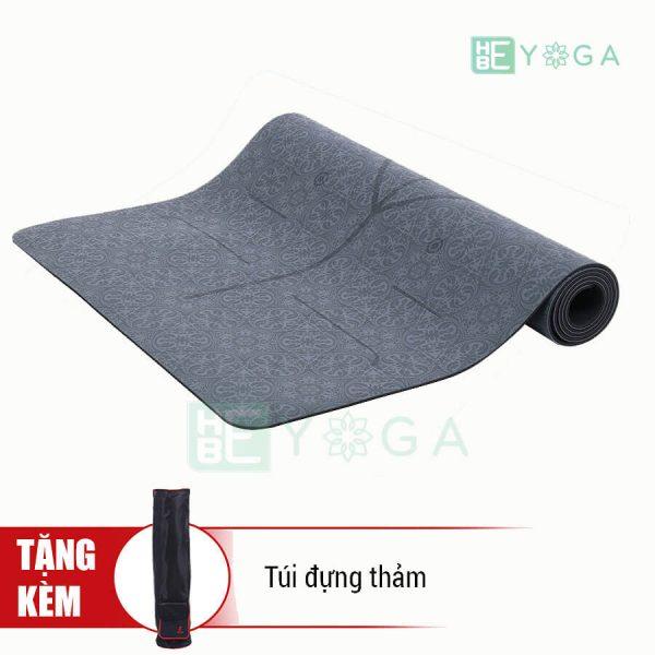 Thảm Yoga TPE Định Tuyến Cao Cấp (Màu Xám)