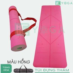 thảm yoga định tuyến tpe 2 lớp 6mm (màu hồng)