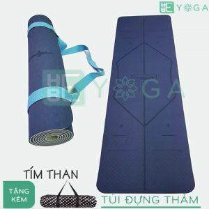thảm yoga định tuyến tpe 2 lớp 6mm (màu tím than)