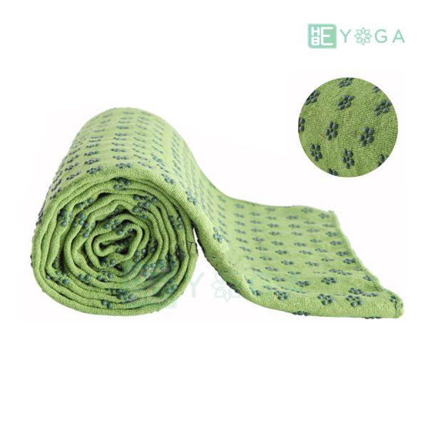 Khăn trải thảm yoga Silicon hoa mai màu xanh lá