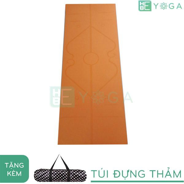 Thảm Yoga TPE Relax Định Tuyến 6mm 2 lớp (màu Cam) - Tặng kèm túi
